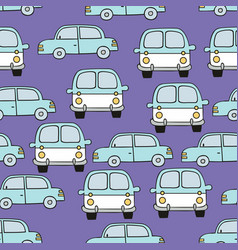 Childrens seamless pattern with cars on a purple vector