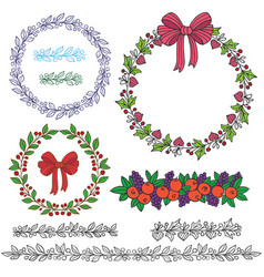 holiday wreath-1 vector image vector image