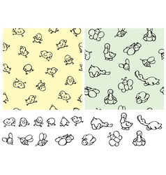 seamless pattern cute birds and elements vector image vector image