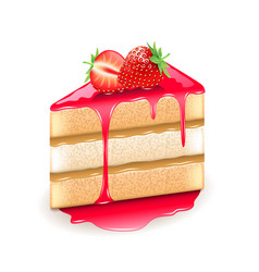 strawberry cake isolated on white vector image
