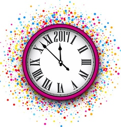 2017 New Year pink clock background vector
