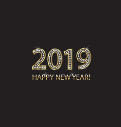 2019 happy new year 2019 gold background vector image