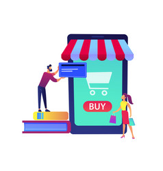 a couple shopping online with huge smartphone with vector image