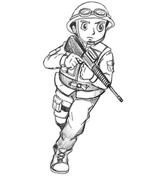 A sketch of a soldier vector image