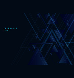 abstract blue triangles shape and lines on black vector image
