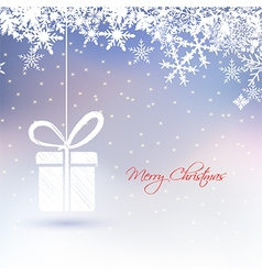 abstract Christmas greeting card with gift box vector image