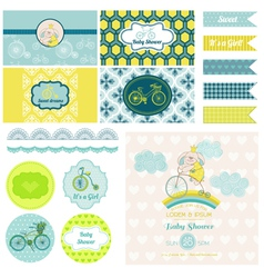 Baby Shower Bunny and Bike Party Set vector image