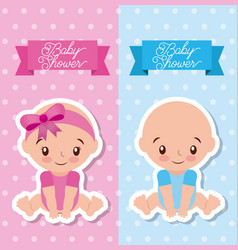 baby shower greeting card with boy and girl vector image