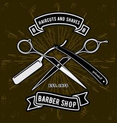 barber shop vintage label badge or emblem vector image