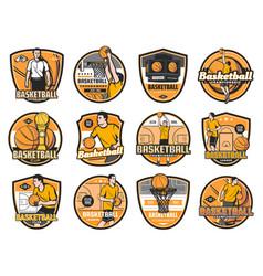 Basketball tournament championship club emblems vector