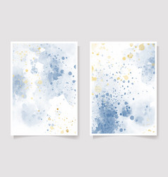 beautiful navy blue and golden watercolor wet vector image