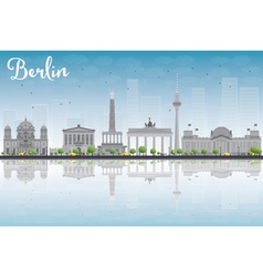 Berlin skyline with grey building vector image