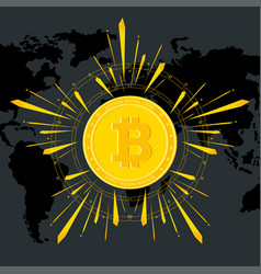 Bitcoin shine on world map black vector