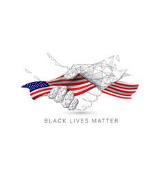 black lives matter black and white hands together vector image