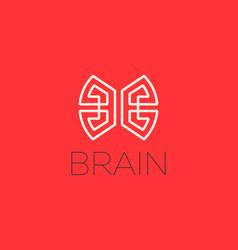 Brain logo design template in linear style vector