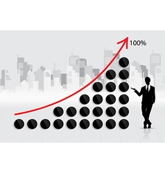 Business growing graph with businessman vector image