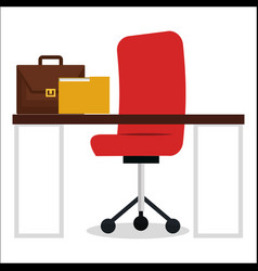 Business office workplace with portfolio vector