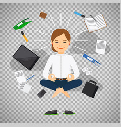 businesswoman in meditating position vector image