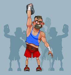 cartoon funny man weight lifter lifts a weight vector image