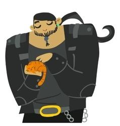 Cartoon huge biker with cute cat vector