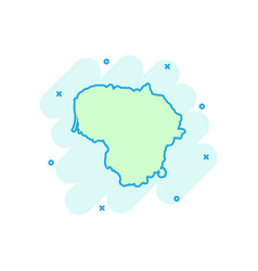 Cartoon lithuania map icon in comic style vector