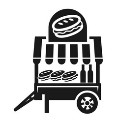 cheese burger cart icon simple style vector image