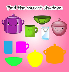 childrens educational game find right shadow vector image