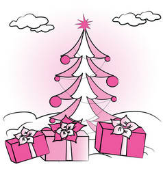 Christmas fir tree and gifts vector
