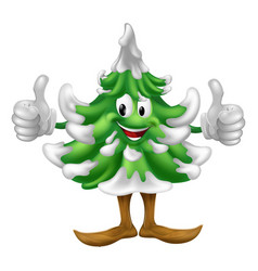 christmas tree cartoon man vector image