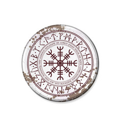 circle nameplate with runic symbol vector image