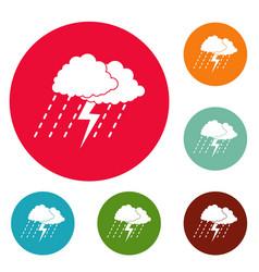 cloud thunder icons circle set vector image