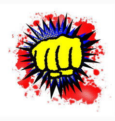 Comic yellow fist boom vector