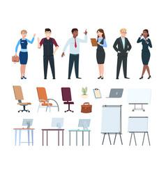 Corporate people office interior furniture vector