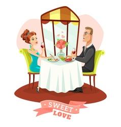 Couple Having Romantic Dinner In Restaurant vector
