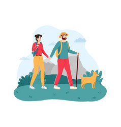 couple traveling with dog young man and woman vector image