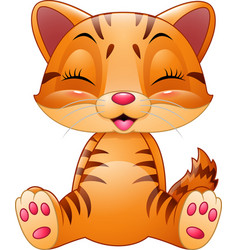 cute cat cartoon isolated on white background vector image