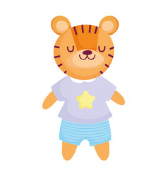 Cute tiger with clothes animal cartoon character vector