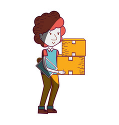 delivery man with packages box distribution vector image