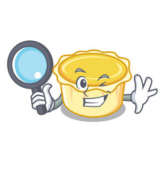 Detective egg tart character cartoon vector