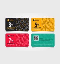 Discount card or voucher fast food template design vector