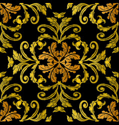 Embroidery baroque 3d seamless pattern vector