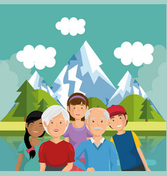family members outside in landscape vector image