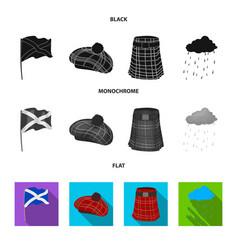 Flag kilt rainy weather capscotland country vector