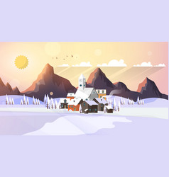 flat style beautiful landscape vector image