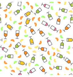 Flat style seamless pattern of wine glasses vector