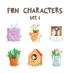 fun characters set 1 vector image