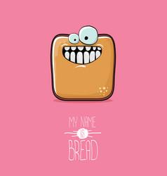 funky cartoon cute sliced bread character vector image