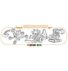 Funny constuction excavator set coloring book vector