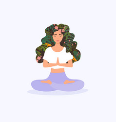 Girl with flower hair in gyan mudra yoga namaste vector