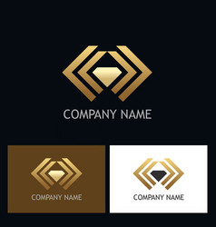 Gold abstract shape diamond logo vector